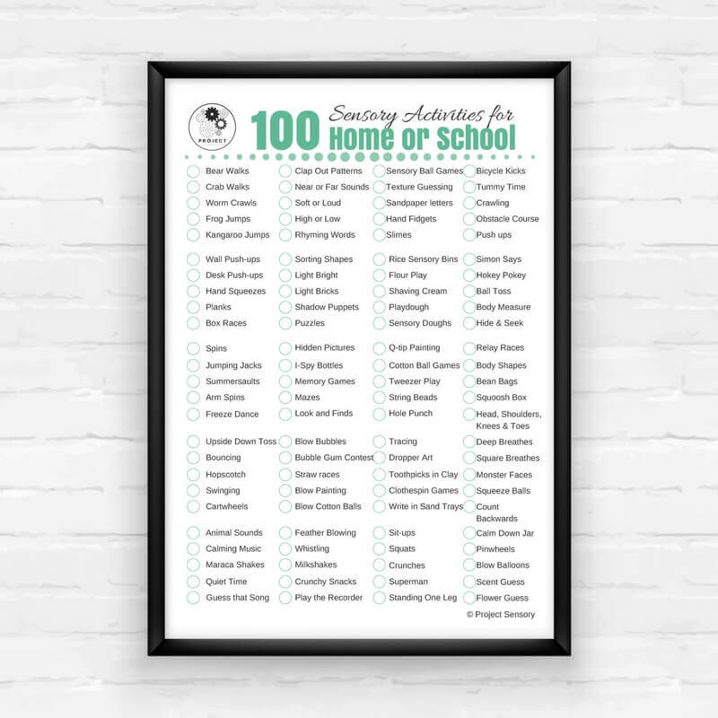 100 sensory activities for home or school free printable project