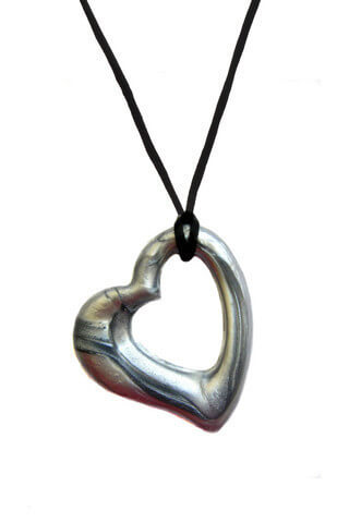 Silver Heart Chewable Jewelry