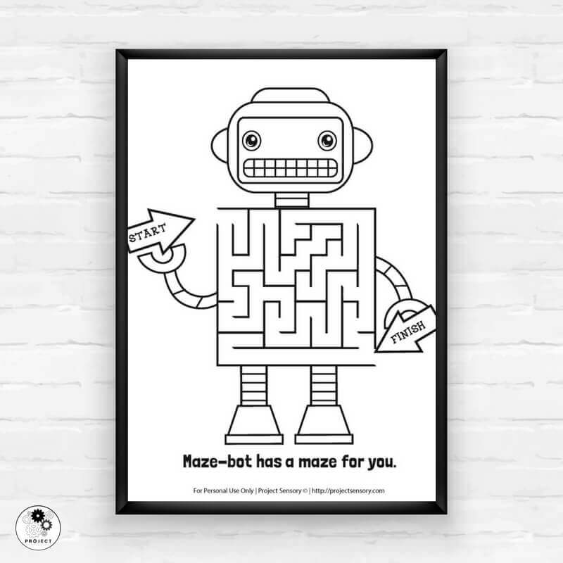 photograph relating to Printable Robot known as Robotic Maze Printable Free of charge Printable - Undertaking SENSORY