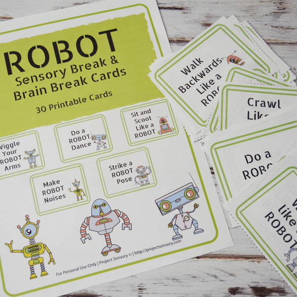 Robot Sensory Break Cards