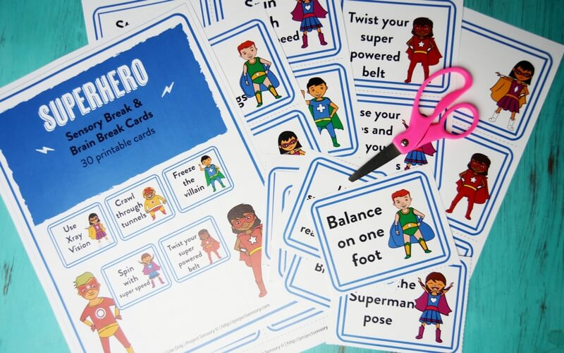 graphic regarding Break Cards for Students Printable referred to as Superhero Relaxing Sensory Split Playing cards